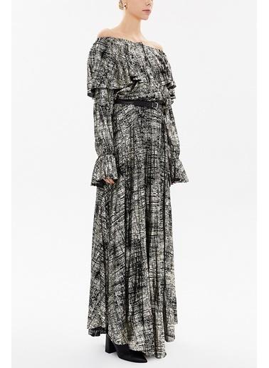 Societa Omuzu Lastikli Ve Kemerli Uzun Elbise 92518 Siyah